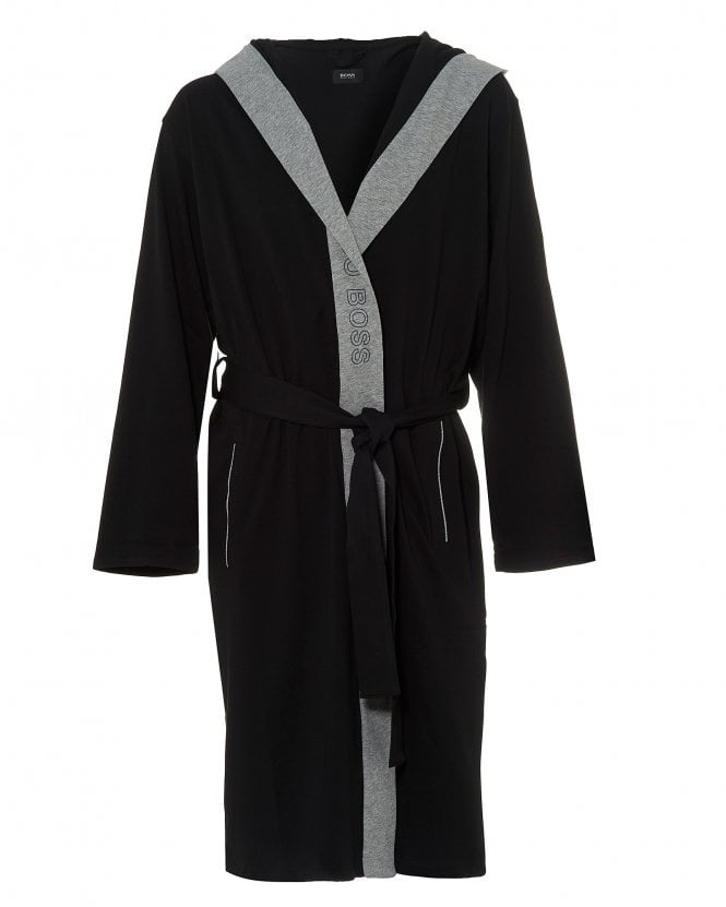 BOSS Business Mens Identity Gown Black Hooded Dressing Gown