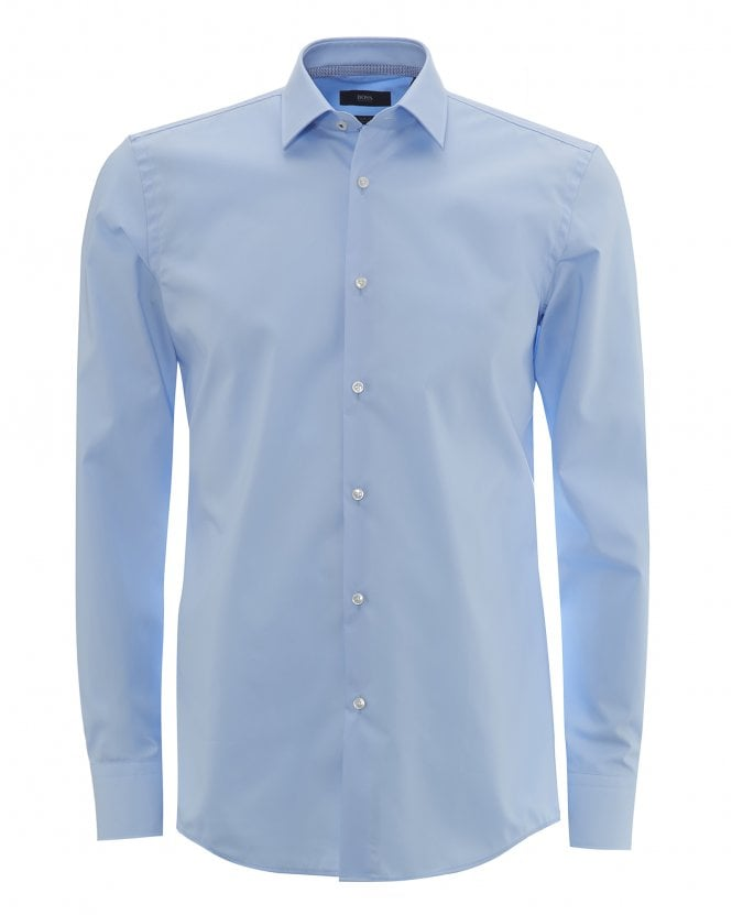 BOSS Mens Jesse Slim Fit Easy-Iron Light Blue Cotton Shirt