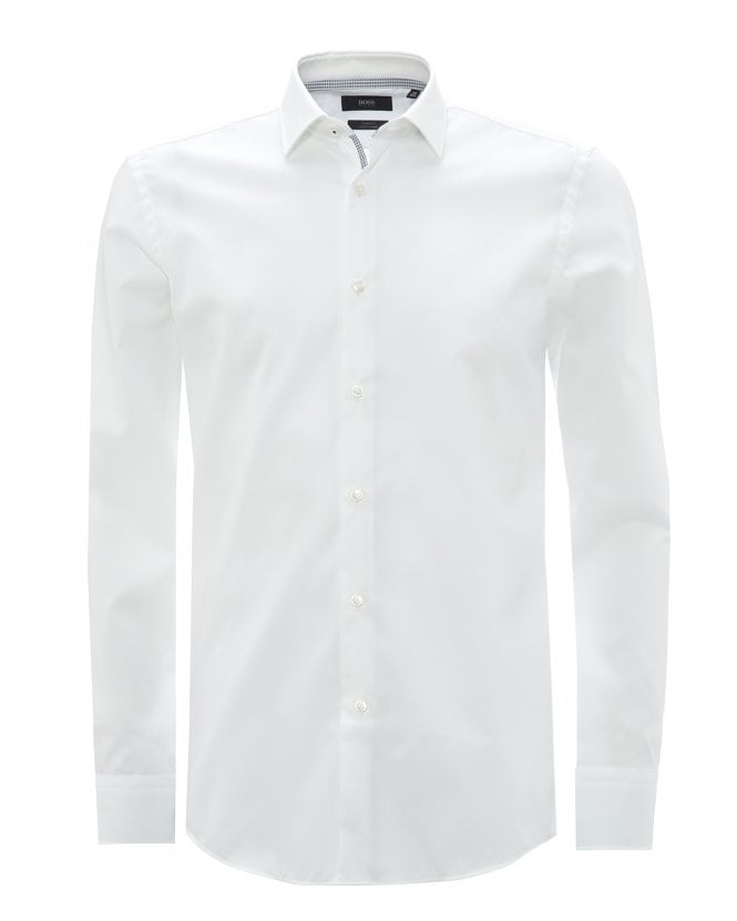 BOSS Mens Jesse Slim Fit Easy-Iron White Cotton Shirt