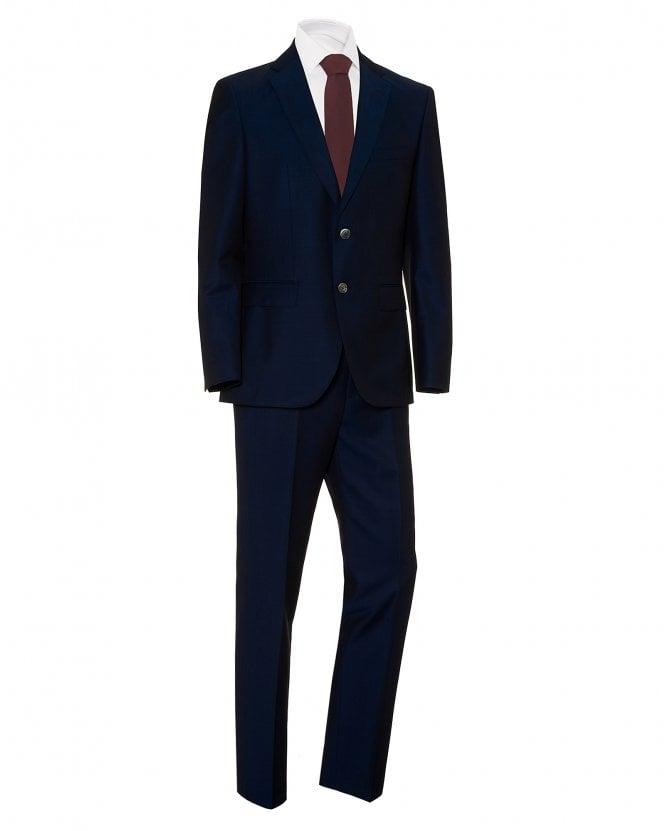 BOSS Mens Juston Lenon1 Regular Fit Two Button Blue Suit