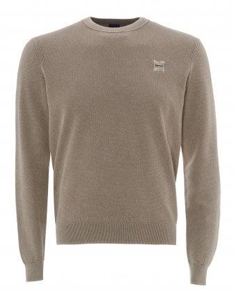 7498ec37 Mens Kalassyo Light Beige Sweater, Ribbed Cotton Jumper