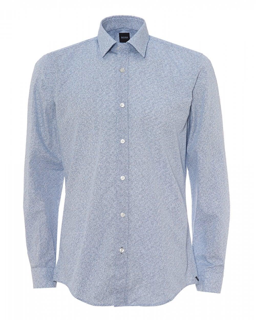 857346ec BOSS Business Mens Lukas Abstract Print Open Blue Shirt