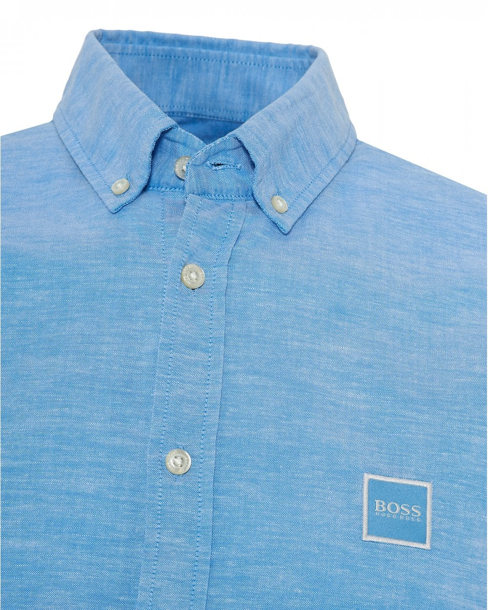 4028e685 BOSS Casual Mens Mabsoot Slim Fit Sky Blue Oxford Shirt