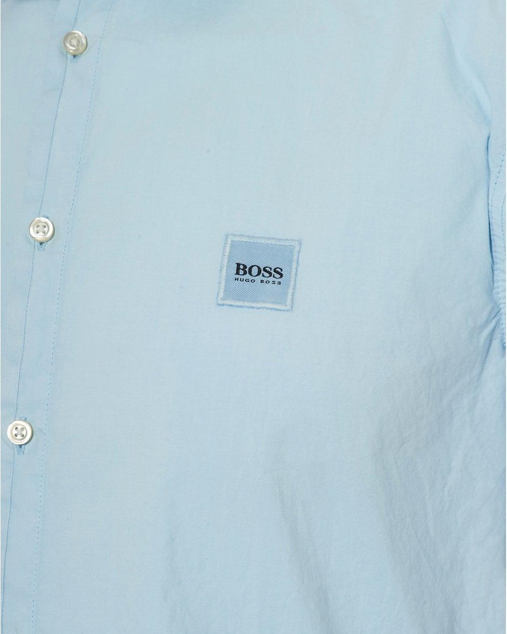 003636e31 BOSS Casual Mens Magneton Short Sleeve Slim Fit Sky Blue Shirt