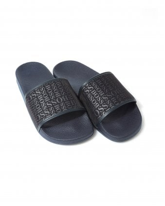 714540fe7bb Mens Navy Blue All Over Print Solar Slides