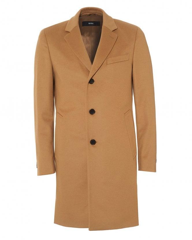 BOSS Mens Nye2 Formal Camel Slim Fit Coat