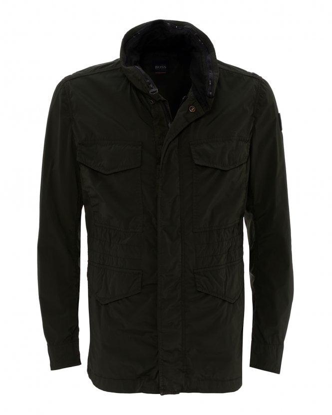 BOSS Mens Olisso Coat, Khaki Hooded Field Jacket