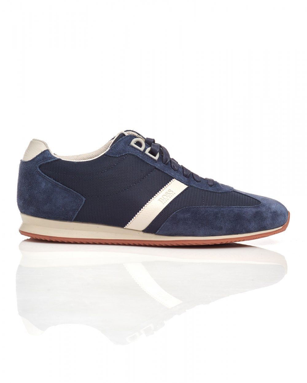 BOSS Casual Mens Orland Lowp sdny1 Suede Leather Navy Blue Trainers 90630c6cfd5