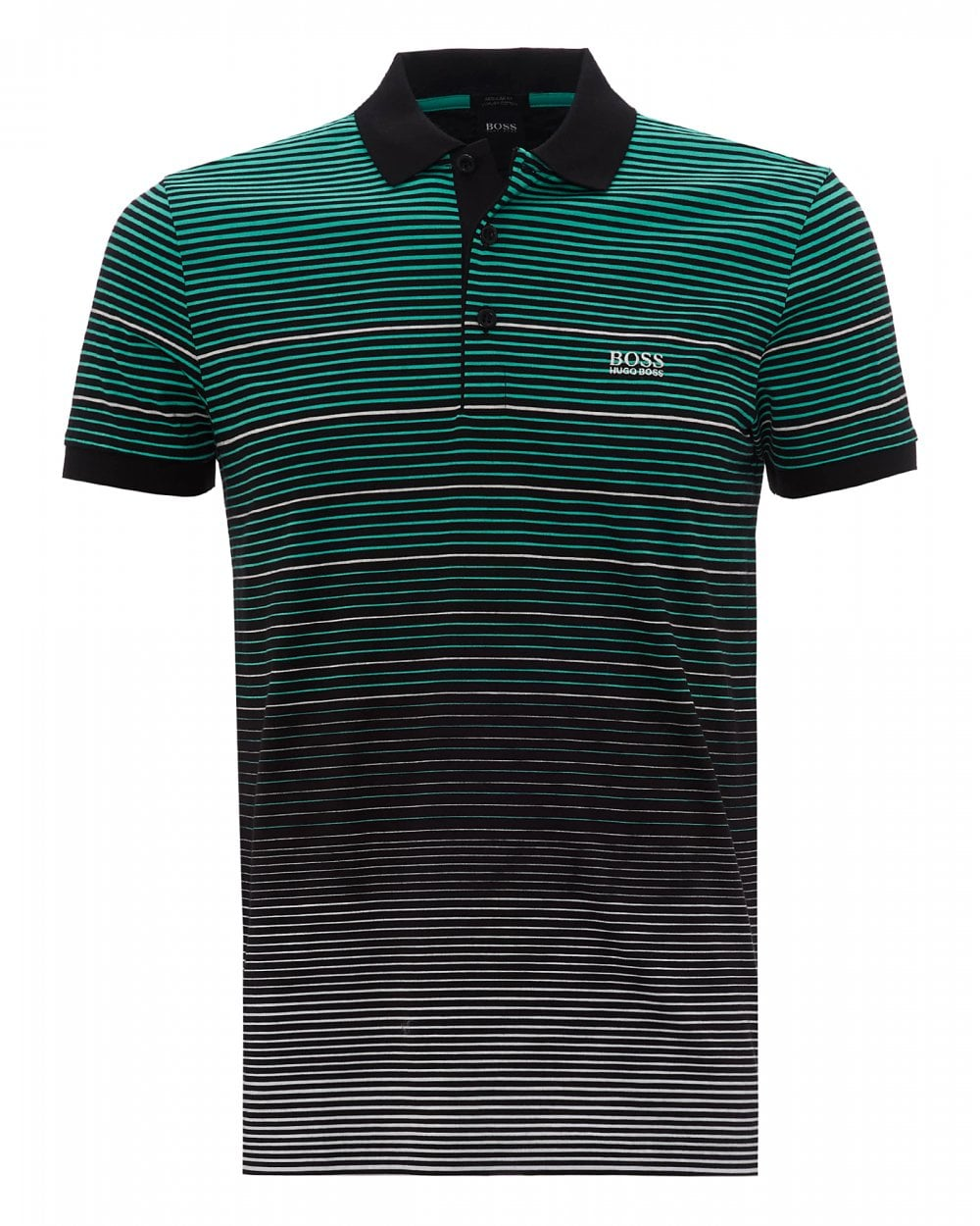 d80fddb18c BOSS Mens Paddy 3 Black Striped Polo Shirt - Menswear from Repertoire UK