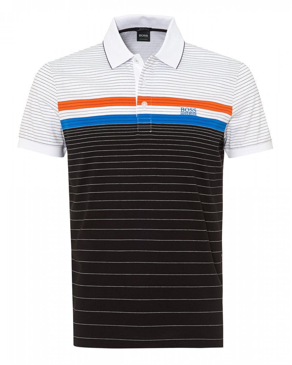 24ff5b142 BOSS Athleisure Mens Paddy 3 Polo Shirt, Fine Stripe Black Polo