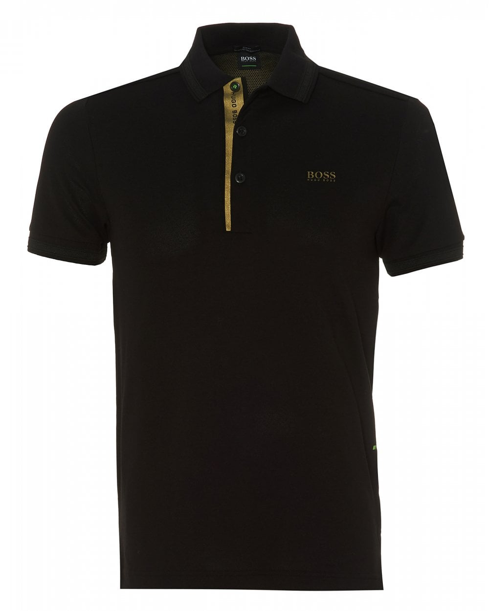 da603a6c25d49 BOSS Athleisure Mens Paddy Gold Capsule Slim Fit Black Polo Shirt