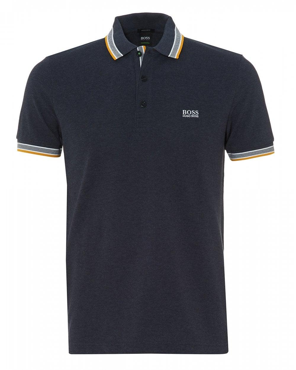 b37a25cf BOSS Athleisure Mens Paddy Polo, Regular Fit Navy Melange Polo Shirt