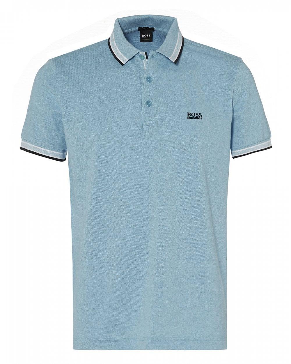 080820fe BOSS Athleisure Mens Paddy Polo Shirt, Tipped Aqua Blue Polo