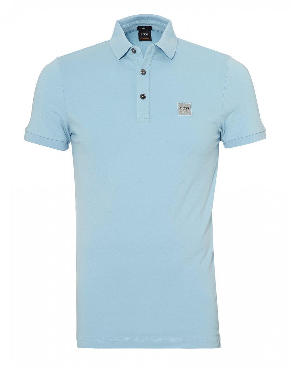 2ba900ac BOSS Casual Mens Passenger Polo Shirt, Slim Fit Sky Blue Polo