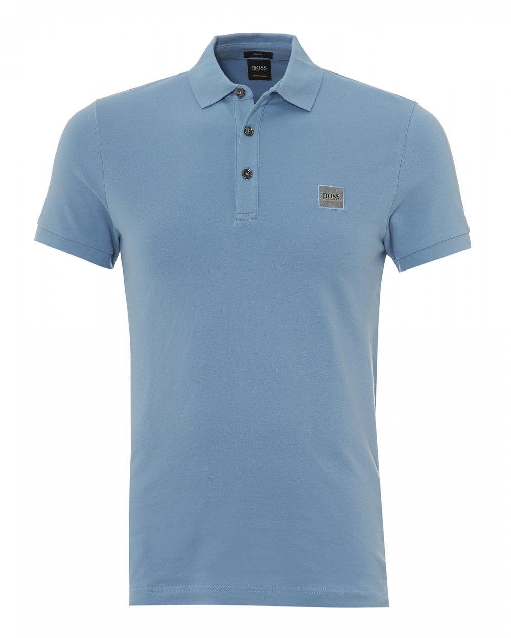 dce29ac15c BOSS Casual Mens Passenger Polo, Slim Fit Sky Blue Polo Shirt