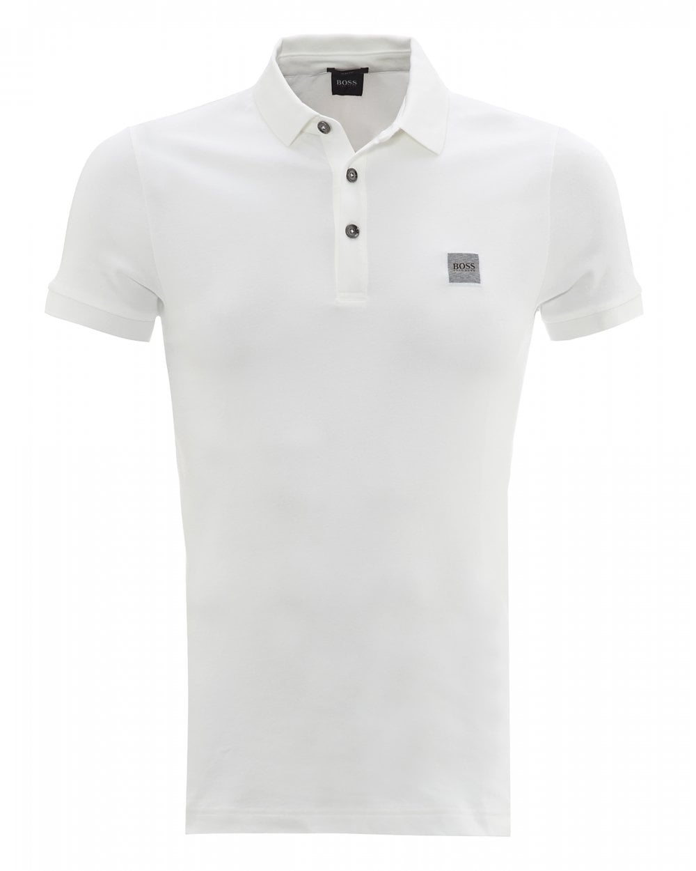 ab6ad99b BOSS Casual Mens Passenger White Slim Fit Polo Shirt