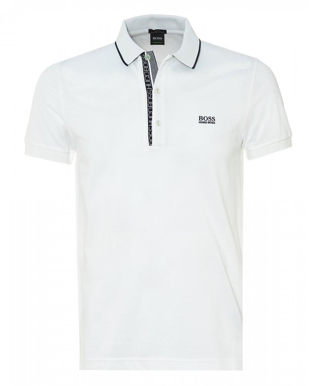 f141ff0e0696 BOSS Athleisure Mens Paule 4 Polo, Slim Fit White Polo Shirt