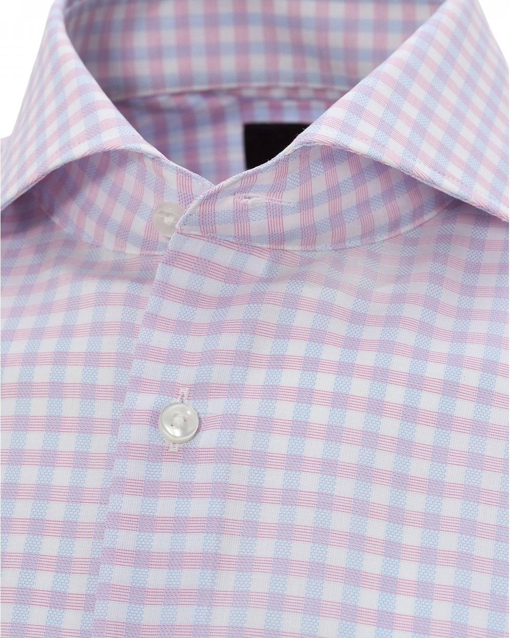 4d6cbbd1 BOSS Mens Pink Jason Gingham Shirt