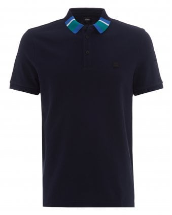 c6cb5cb72 Mens Polarized Navy Colourblock Collar Polo Shirt