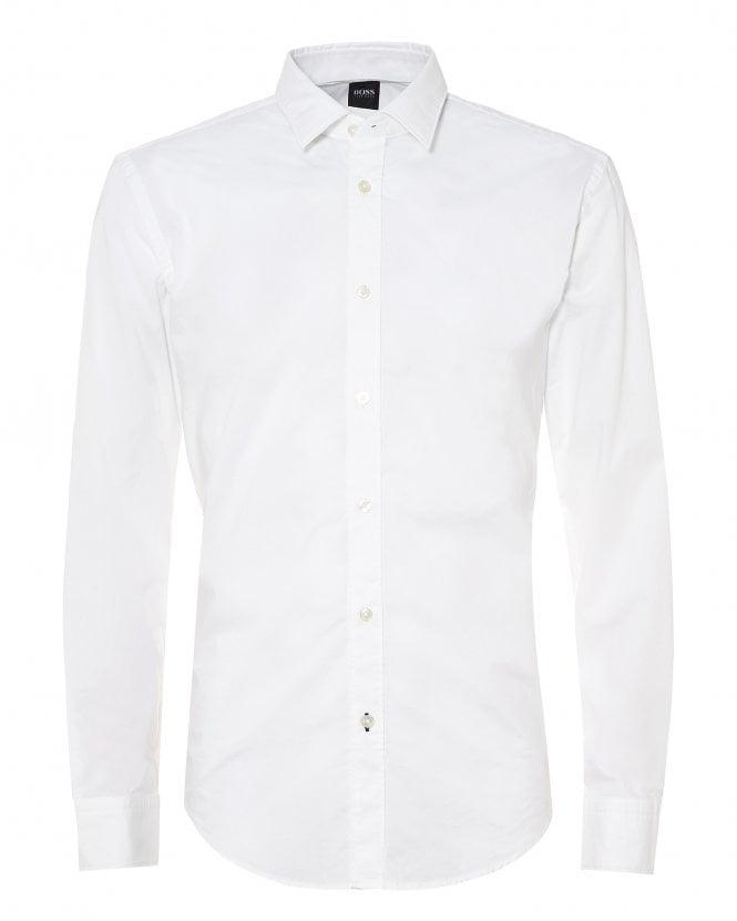 BOSS Mens Ronni_F Stretch Cotton White Slim Fit Shirt