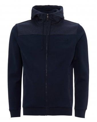 1a9b10e1e Mens Saggy Zip Through Hoodie, Navy Marl Hooded Jacket