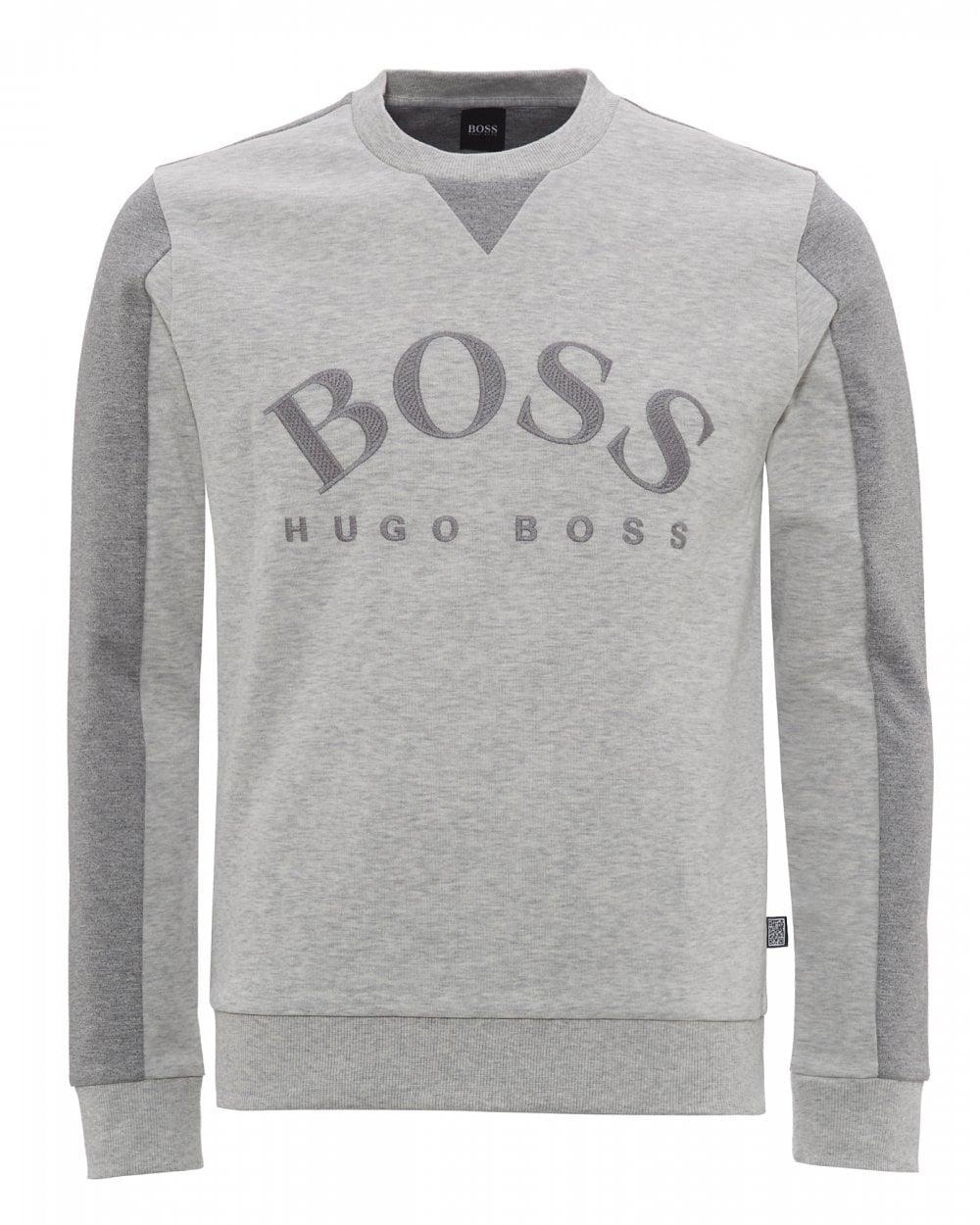 af593b844c BOSS Mens Salbo Logo Sweatshirt, Light Grey Sweat