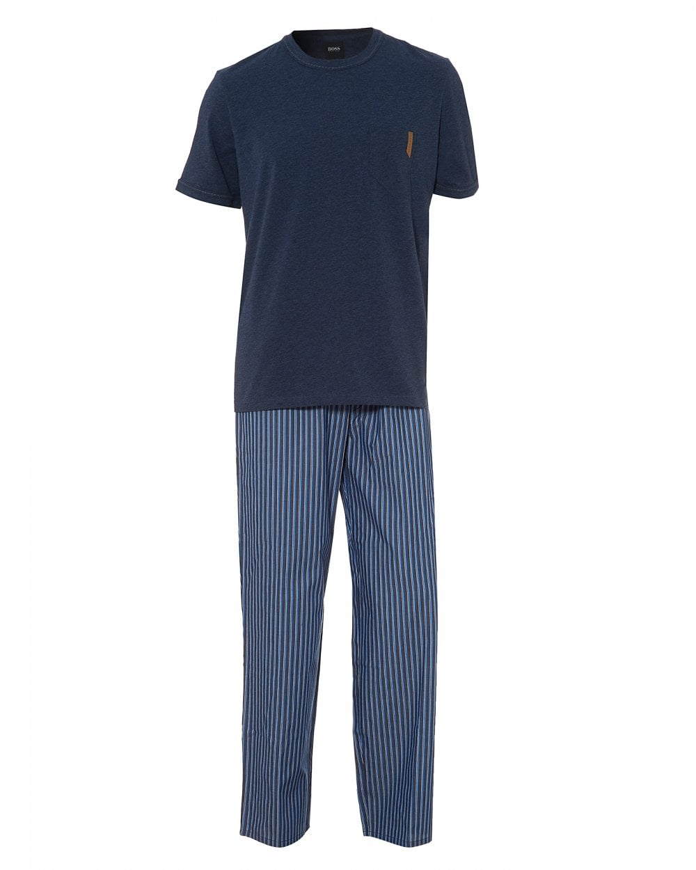 68350627d Mens Trend Long Set Lounge Set, Dark Blue Pyjamas