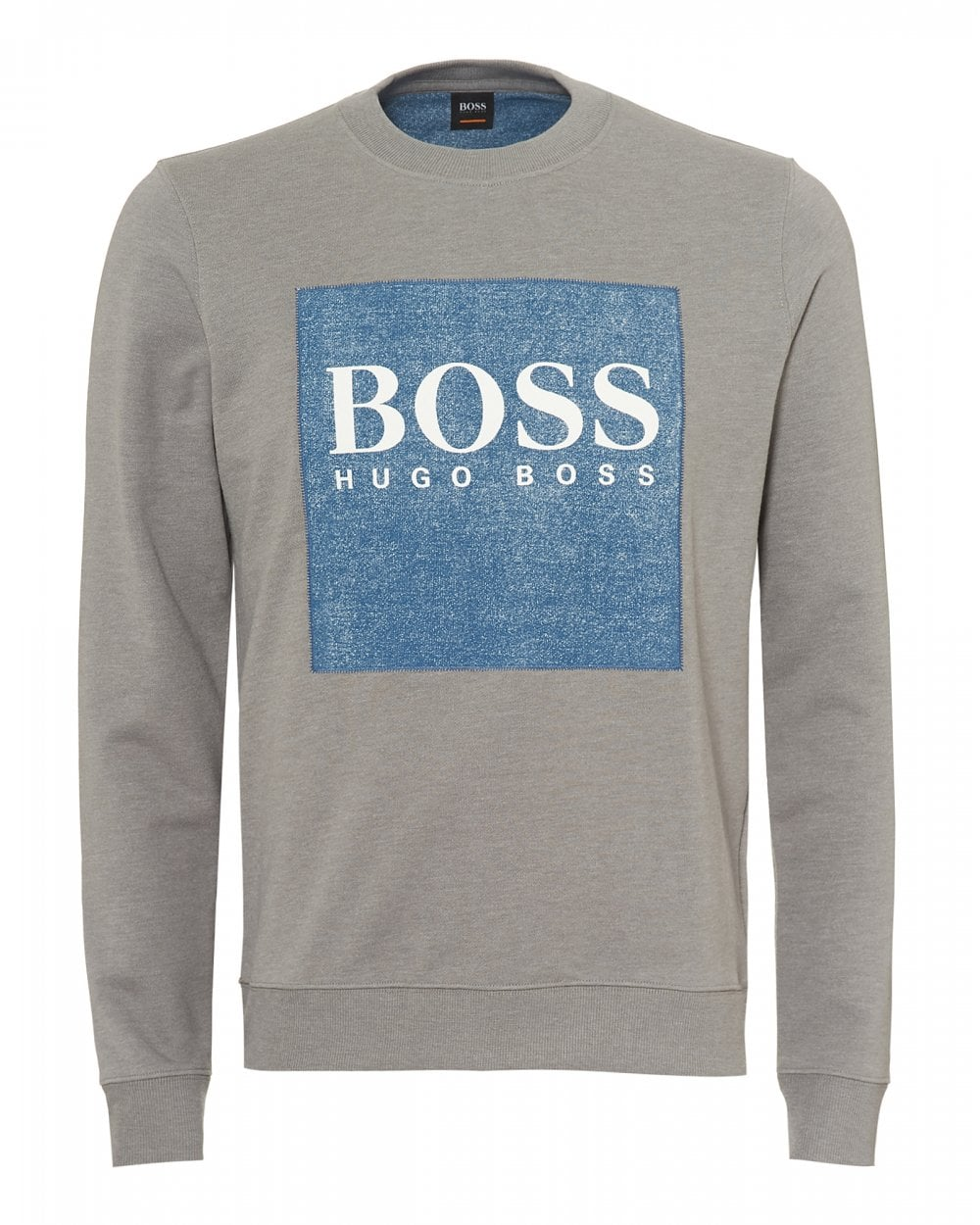 1b82a7af BOSS Casual Mens Wedford Sweatshirt, Denim Patch Grey Sweat