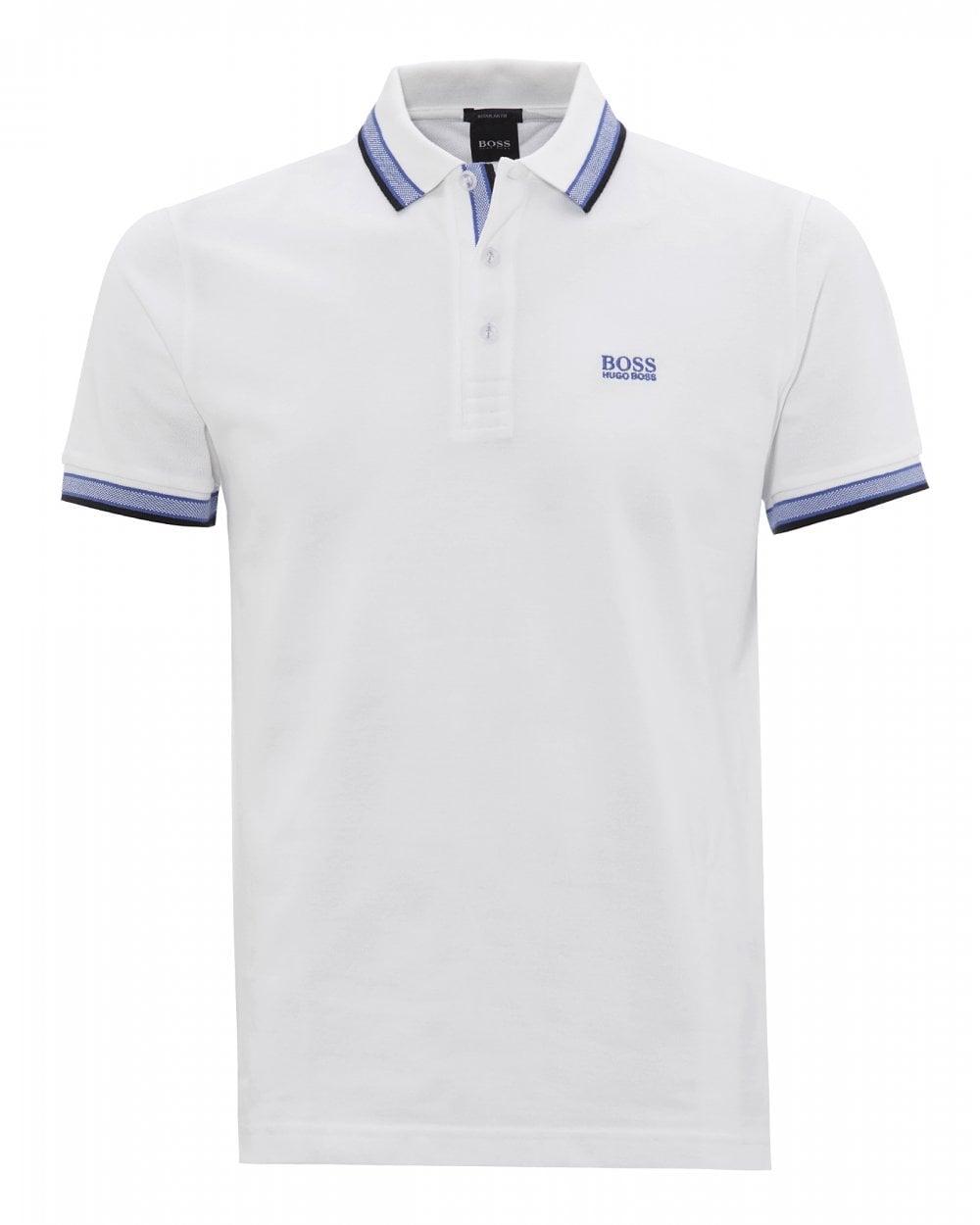 758e5d0f BOSS Mens White Cotton-Piqué Logo Polo Shirt