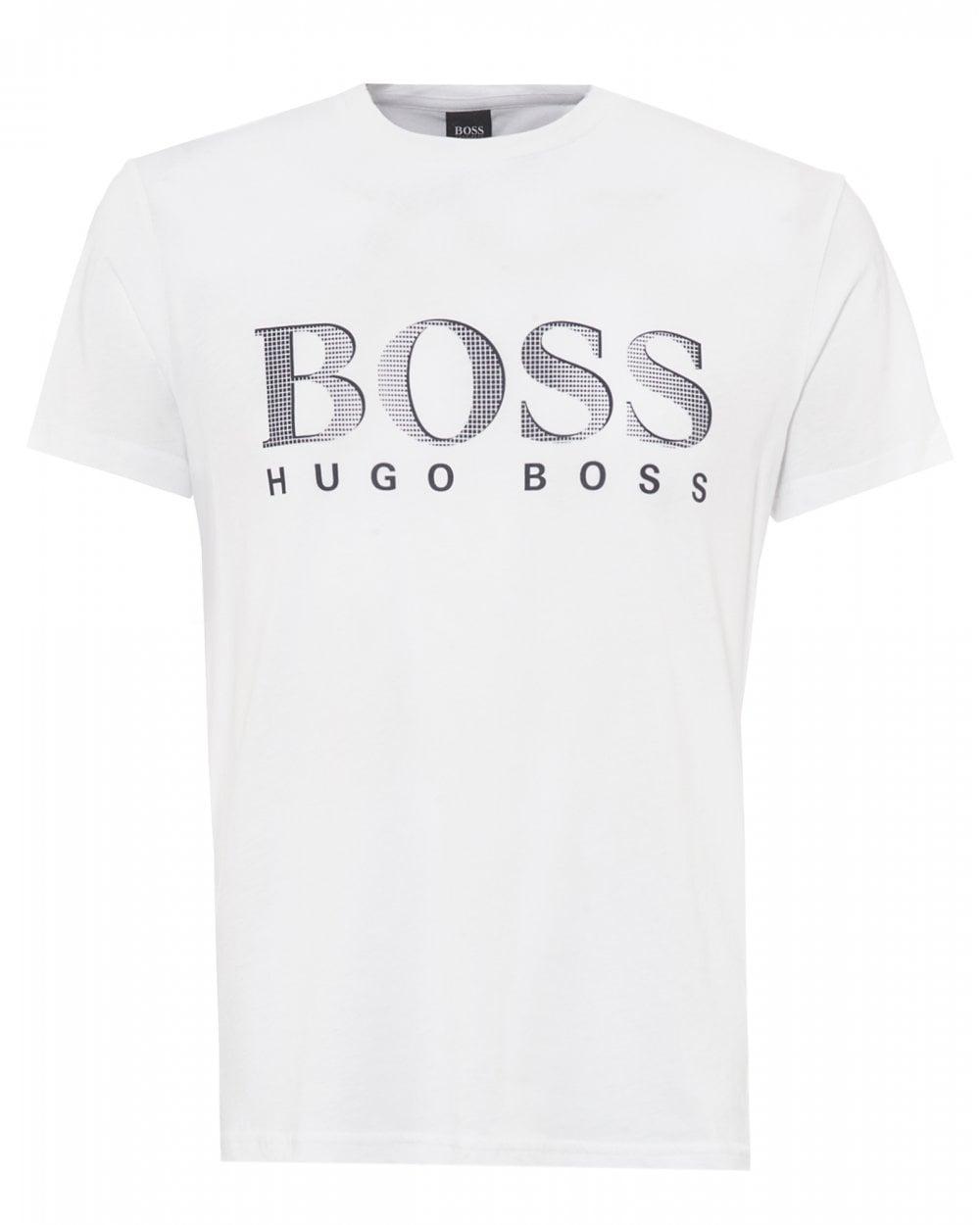 8e8e41dca BOSS Mens White UV Logo T-Shirt, Relaxed Fit UPF 50+ Tee
