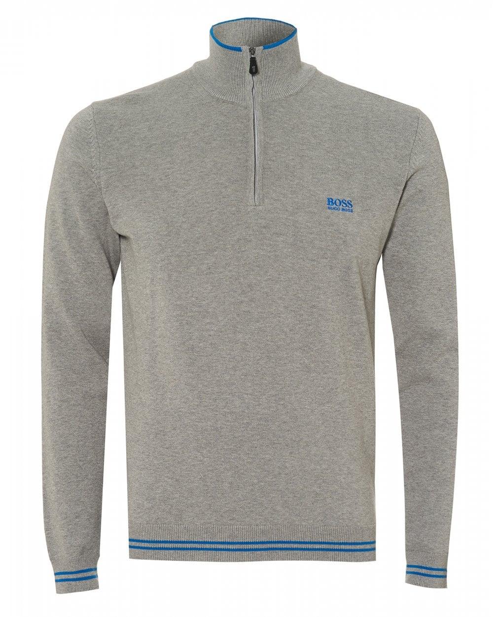 ad810e71d BOSS Athleisure Mens Zimex_W18 Jumper, Quarter Zip Grey Melange Sweater