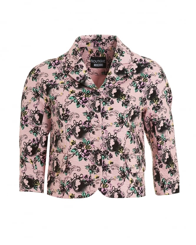 Boutique Moschino Womens 3/4 Sleeve Pink Blazer, Cameo Printed Jacket