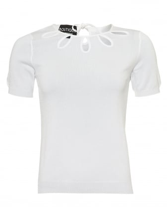 Womens Cut Out Detail Knit, Short Sleeved White Jumper