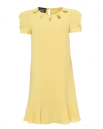 Womens Cut Out Neck Dress, Frilled Hem Lemon Yellow Dress