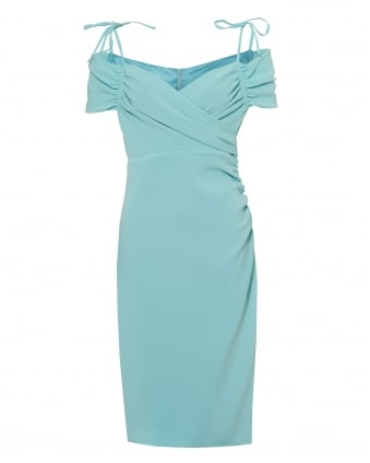 Womens Off Shoulder Sleeves Dress, Crepe Lined Aqua Blue Dress