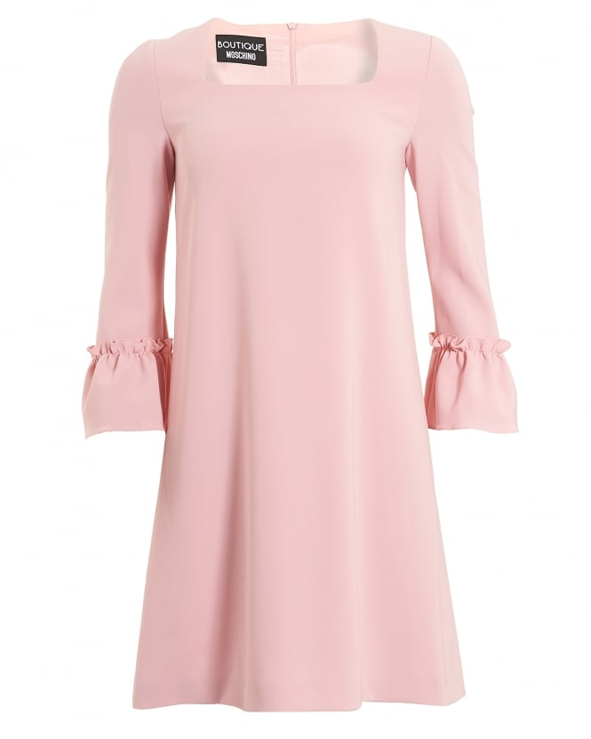 Boutique Moschino Womens Pink A-Line Ruffle Bell Sleeve Dress