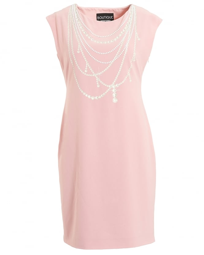 Boutique Moschino Womens Pink Pearl Print Sleeveless Shift Dress