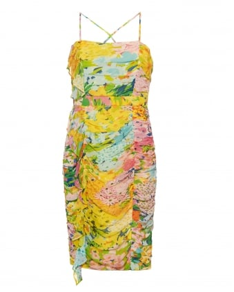 Womens X Back Dress, Floral Multi Coloured Yellow Dress