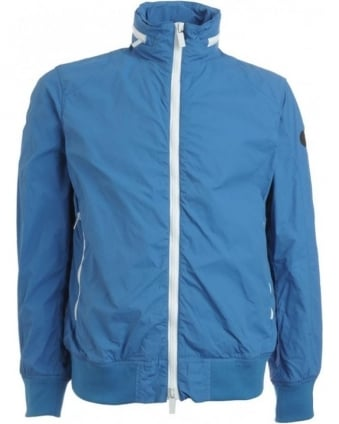 Bright Blue Coat, Microfibre Contrast Zip Jacket