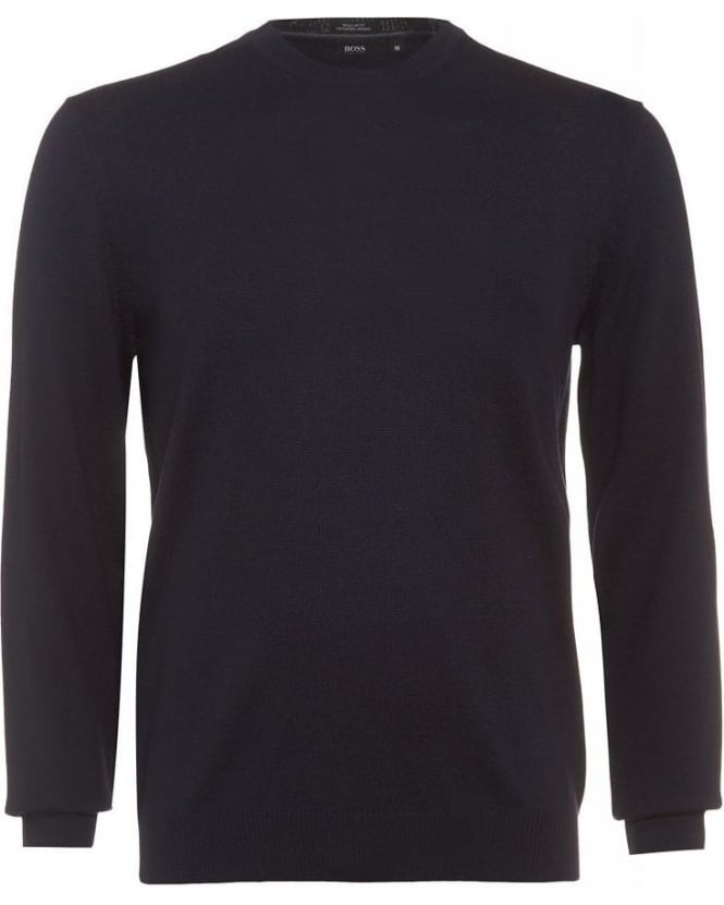 Hugo Boss Black Brigitte E Sweater, Navy Blue Crew Neck Jumper