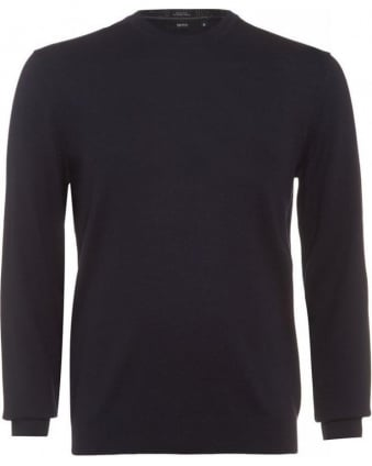 Brigitte E Sweater, Navy Blue Crew Neck Jumper