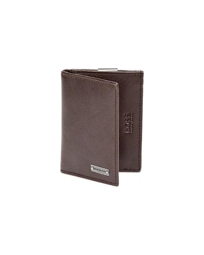 Hugo Boss Orange Brikol Chocolate Brown Leather Money Clip Cardholder