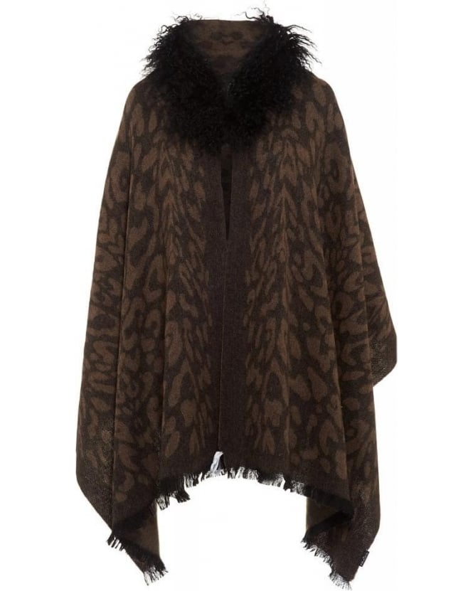 FRAAS Brown Animal Effect Cape Fur Collar Wrap