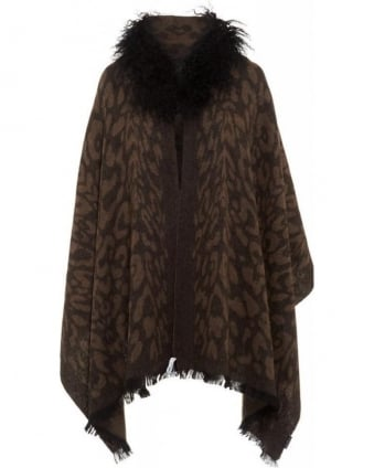 Brown Animal Effect Cape Fur Collar Wrap