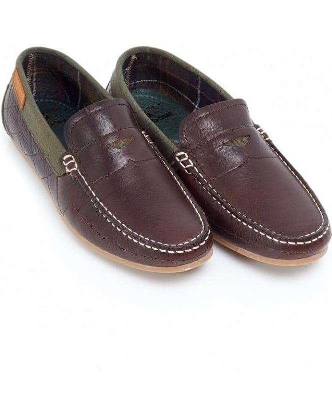 Barbour Brown Leather Brigham Slip On Loafers