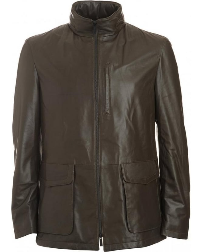 Armani Collezioni Brown Olive, Leather Longer Length Jacket