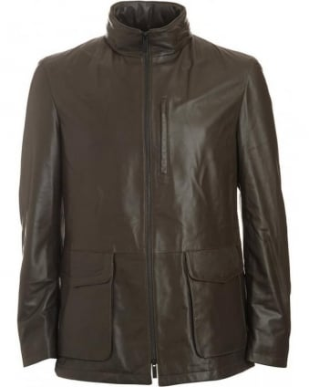 Brown Olive, Leather Longer Length Jacket