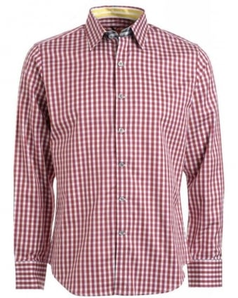 'Bryant' Dark Red Regular Fit Gingham Shirt