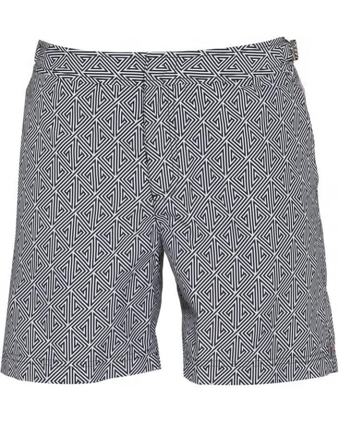 Orlebar Brown Bulldog Dark Grey Ebony Konig Print Mid Length Swim Shorts