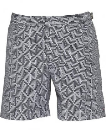 Bulldog Dark Grey Ebony Konig Print Mid Length Swim Shorts
